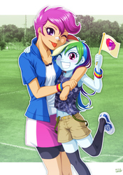 Size: 900x1277 | Tagged: safe, artist:uotapo, rainbow dash, scootaloo, equestria girls, :p, age swap, armpits, banner, belly button, blushing, clothes, clothes swap, cute, cutealoo, dashabetes, duo, female, flag, grass, grin, hug, midriff, older, one eye closed, role reversal, shoes, shorts, skirt, smiling, socks, tongue out, tree, uotapo is trying to murder us, wink, wristband, younger