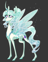 Size: 1314x1700 | Tagged: safe, artist:australian-senior, oc, oc only, oc:princess iridescence, changeling, changepony, hybrid, pony, pandoraverse, changeling oc, colored hooves, gray background, magical lesbian spawn, next generation, offspring, parent:princess celestia, parent:queen chrysalis, parents:chryslestia, pink eyes, simple background, solo
