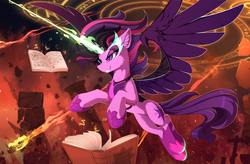 Size: 2500x1636 | Tagged: safe, artist:yakovlev-vad, sci-twi, twilight sparkle, alicorn, pony, art, badass, book, cross, equestria girls ponified, evil twilight, female, glowing eyes, grin, magic, midnight sparkle, ponified, smiling, solo, spread wings, telekinesis, twilight is anakin, twilight sparkle (alicorn), tyrant, tyrant sparkle, wings