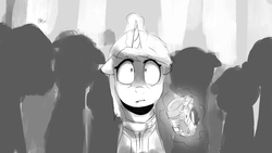 Size: 2439x1372 | Tagged: safe, artist:anticular, oc, oc only, oc:littlepip, pony, unicorn, fallout equestria, fallout equestria illustrated, black and white, clothes, fanfic, fanfic art, female, floppy ears, glowing horn, grayscale, horn, levitation, magic, mare, monochrome, open mouth, pipbuck, solo, stable, stable 2, teeth, telekinesis, vault suit, you dun goofed