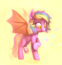 Size: 1280x1327 | Tagged: abstract background, amputee, artist:lilfunkman, bandage, bat pony, colored pupils, cute, cute little fangs, ear fluff, fangs, featured image, female, mare, missing limb, oc, oc only, oc:paper stars, pony, raised hoof, safe, smiling, solo, spread wings, wings