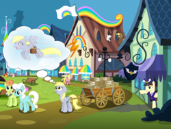 Size: 8000x6000   Tagged: safe, artist:bobsicle0, artist:chainchomp2 edit, artist:illumnious, artist:luckreza8, artist:m99moron, artist:mundschenk85, care package, compass star, derpy hooves, jade spade, lady justice, mercury, nook, salt water, special delivery, starry eyes (character), sunshine smiles, swift justice, earth pony, pegasus, pony, absurd resolution, alternate hairstyle, background pony, dream, female, flying, happy, male, mare, post office, rainbow falls (location), saddle bag, stallion, thought bubble, vector