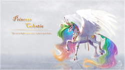 Size: 1920x1080 | Tagged: safe, artist:begasus, princess celestia, alicorn, classical unicorn, pony, bracelet, cloven hooves, crown, curved horn, eyeshadow, female, glowing horn, hoof shoes, horn, jewelry, large wings, leonine tail, levitation, looking at you, magic, makeup, mare, necklace, rain, raised hoof, raised leg, regalia, ripple, ripples, smiling, solo, spread wings, tail jewelry, tail ring, telekinesis, text, unshorn fetlocks, water, wing jewelry, wings