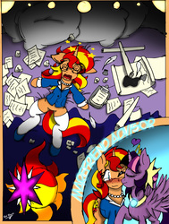 Size: 2422x3199   Tagged: safe, artist:shard-of-life, sunset shimmer, twilight sparkle, alicorn, pony, alternate clothes, blushing, cheek kiss, circling stars, cutie mark, dizzy, eyes closed, female, glasses, kissing, lesbian, one eye closed, paper, shipping, sunsetsparkle, swirly eyes, tired, twilight sparkle (alicorn)