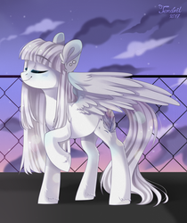 Size: 1280x1524 | Tagged: safe, artist:ten-dril, oc, oc only, pegasus, pony, blue blush, blushing, body blush, cloud, complex background, ear piercing, earring, eyes closed, female, fence, jewelry, long hair, mare, one hoof raised, piercing, raised hoof, sky, smiling, solo, stars, twilight (astronomy), unshorn fetlocks, white hair, wing blush, wings
