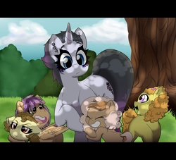 Size: 3507x3188 | Tagged: safe, artist:marukouhai, oc, oc only, oc:euli, oc:ginger, oc:joystick, oc:mimi, oc:minerva miss, oc:skipper, pony, female, filly, foal, high res, next generation, offspring, parent:apple bloom, parent:bulk biceps, parent:button mash, parent:fashion plate, parent:featherweight, parent:fluttershy, parent:rarity, parent:rumble, parent:scootaloo, parent:sweetie belle, parents:flutterbulk, parents:rariplate, parents:rumbloom, parents:scootaweight, parents:sweetiemash