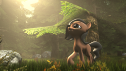 Size: 3840x2160 | Tagged: 3d, artist:jeff556, boulder, earth pony, female, forest, grass, mare, oc, oc:cold gray, oc only, plants, pony, rock, safe, shadow, solo, source filmmaker, the sun is a deadly laser, tree, volumetric light