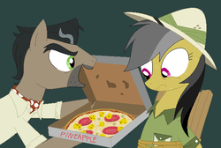 Size: 1212x816 | Tagged: artist:hyolark, daring do, doctor caballeron, food, pineapple pizza, pizza, pony, pure unfiltered evil, safe, sweat, tied up, torture