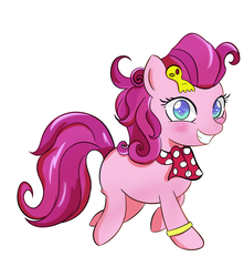 Size: 1500x1700 | Tagged: safe, artist:toughbluff, strawberry parchment, earth pony, pony, stranger than fan fiction, clothes, colored pupils, cosplay, costume, cute, female, filly, grin, happy, looking at you, scarf, simple background, smiling, solo, walking, white background