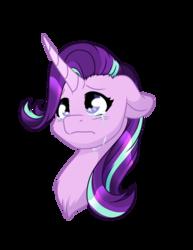 Size: 1024x1325 | Tagged: safe, artist:fuyusfox, starlight glimmer, pony, unicorn, bust, crying, female, floppy ears, mare, portrait, sad, sadlight glimmer, simple background, solo, transparent background