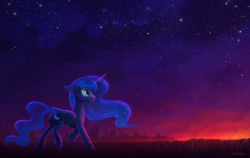 Size: 1900x1200 | Tagged: safe, artist:scheadar, princess luna, alicorn, pony, female, looking up, mare, missing accessory, night, night sky, sky, smiling, solo, starry night, stars, sunrise, twilight (astronomy)