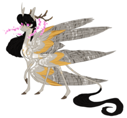 Size: 2000x1848 | Tagged: alicorn, alternate universe, angel, antlers, artist:australian-senior, cherry blossoms, companion cube, curved horn, flower, flower blossom, hybrid, kirindos, leonine tail, multiple wings, oc, oc:eleanor aetherius, oc only, pink eyes, pony, portal (valve), realistic horse legs, safe, seraph, seraphicorn, simple background, solo, transparent background