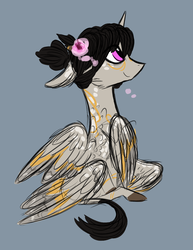 Size: 1037x1345 | Tagged: alicorn, alternate universe, artist:australian-senior, companion cube, doodle, female, filly, flower, flower in hair, gray background, hybrid, leonine tail, multiple wings, oc, oc:eleanor aetherius, oc only, pink eyes, pony, portal (valve), safe, seraph, seraphicorn, simple background, sketch, solo