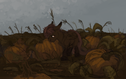 Size: 1424x900 | Tagged: safe, artist:celestiawept, scootaloo, pegasus, pony, female, folded wings, lidded eyes, looking sideways, pumpkin, pumpkin patch, sad, solo, walking