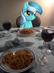Size: 768x1024 | Tagged: safe, edit, lyra heartstrings, pony, alcohol, food, glass, irl, pasta, photo, ponies in real life, solo, spaghetti, table, waifu, waifu dinner, wine, wine glass