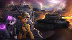 Size: 1920x1080 | Tagged: safe, artist:vanillaghosties, daring do, twilight velvet, pegasus, pony, unicorn, fanfic:spectrum of lightning, series:daring did tales of an adventurer's companion, ak-47, assault rifle, barrel, clothes, duo, fanfic, fanfic art, fanfic cover, female, fire, flamethrower, glowing horn, gun, hiding, hood, jacket, leather jacket, lightning, magic, mare, rifle, serious, serious face, t-55, tank (vehicle), to-55, weapon