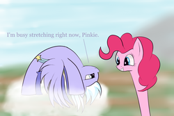 Size: 2000x1333 | Tagged: artist:huffy26, atg 2017, backbend, cloud, cloudchaser, dialogue, earth pony, female, flexible, frown, get, glare, grin, index get, interrupted, long neck, mare, newbie artist training grounds, pegasus, pinkie being pinkie, pinkie physics, pinkie pie, pony, safe, smiling, spread wings, squee, stretching, unamused, upside down, wings, x00000 milestone