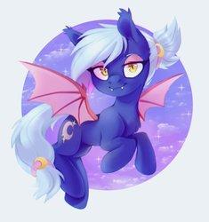 Size: 866x923   Tagged: safe, artist:ls_skylight, oc, oc only, oc:moon sugar, bat pony, pony, bedroom eyes, cute, cute little fangs, ear fluff, eyeshadow, fangs, looking at you, makeup, solo