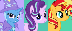 Size: 1288x552 | Tagged: safe, starlight glimmer, sunset shimmer, trixie, twilight sparkle, pony, unicorn, female, magical quartet, magical quintet, magical trio, mare, vector