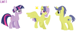 Size: 1226x516 | Tagged: safe, artist:angelchacha, artist:lightningmusic10, comet tail, twilight sparkle, oc, oc:north star, alicorn, pony, alicorn oc, cometlight, family, female, male, offspring, parent:comet tail, parent:twilight sparkle, parents:cometlight, shipping, straight, twilight sparkle (alicorn)