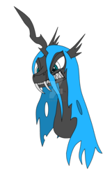 Size: 1280x1989   Tagged: safe, artist:nyinxdelune, oc, oc only, oc:queen cryostasis, changeling, changeling queen, angry, blue changeling, bust, changeling oc, changeling queen oc, fangs, female, portrait, simple background, solo, transparent background, watermark