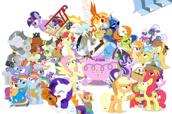 Size: 1182x785 | Tagged: safe, artist:dm29, angel bunny, applejack, big macintosh, bow hothoof, bright mac, chipcutter, daybreaker, discord, doctor fauna, feather bangs, fluttershy, hoity toity, maud pie, nightmare moon, pear butter, photo finish, pinkie pie, prince rutherford, princess flurry heart, rainbow dash, rarity, scootaloo, starlight glimmer, strawberry sunrise, sugar belle, sweetie belle, thorax, trixie, twilight sparkle, whammy, wild fire, windy whistles, alicorn, changedling, changeling, earth pony, pegasus, pony, unicorn, a flurry of emotions, a royal problem, all bottled up, celestial advice, discordant harmony, fluttershy leans in, forever filly, hard to say anything, honest apple, not asking for trouble, parental glideance, rock solid friendship, the perfect pear, anger magic, ballerina, basket, bottled rage, brightbutter, camera, cinnamon nuts, clothes, cup, equestrian pink heart of courage, female, food, ginsing tea, guitar, heart, heart eyes, helmet, hug, jalapeno red velvet omelette cupcakes, king thorax, kite, magic, male, mining helmet, one sided shipping, pancakes, pineapple, pizza costume, pizza head, piñata, rainbow dash's parents, reformed four, shipping, shopping cart, simple background, statue, stingbush seed pods, straight, strawberry, sugarmac, teacup, that pony sure does love kites, that pony sure does love teacups, the meme continues, the story so far of season 7, this isn't even my final form, tutu, twilarina, twilight sparkle (alicorn), uniform, wall of tags, white background, windyhoof, wingding eyes, winged teapot, wonderbolts uniform
