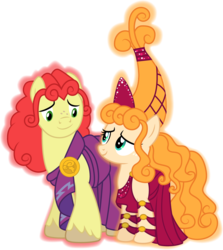 Size: 1001x1121   Tagged: safe, artist:cloudyglow, bright mac, pear butter, earth pony, pony, the perfect pear, brightbutter, clothes, clothes swap, cosplay, costume, crossover, disney, female, hera, hercules, husband and wife, looking at each other, male, shipping, simple background, smiling, straight, transparent background, vector, zeus