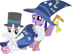 Size: 3941x3000 | Tagged: safe, artist:eagle1division, sweetie belle, twilight sparkle, pony, unicorn, beard, bell, cloak, clothes, costume, diaper, duo, facial hair, fake beard, female, filly, hat, hourglass, mare, new year, old year, open mouth, raised arm, robe, sash, simple background, sitting, staff, top hat, transparent background, wizard hat