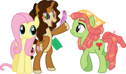 Size: 10809x6400 | Tagged: safe, artist:parclytaxel, fluttershy, tree hugger, oc, oc:sukalicorn paradise, bird, earth pony, pegasus, pony, unicorn, .svg available, absurd resolution, bipedal, ear piercing, earring, female, jewelry, leaning, mare, perching, piercing, purse, raised hoof, simple background, smiling, sunglasses, transparent background, unshorn fetlocks, vector