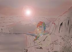 Size: 1400x1000   Tagged: safe, artist:redheadfly, rainbow dash, pegasus, pony, atg 2017, bandage, cliff, female, lens flare, mare, mountain, newbie artist training grounds, prone, river, scenery, solo, sun