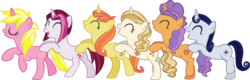 Size: 8123x2612 | Tagged: safe, artist:ironm17, cayenne, citrus blush, moonlight raven, pretzel twist, sunshine smiles, sweet biscuit, pony, unicorn, butt touch, conga, dancing, eyes closed, female, group, hoof on butt, mare, simple background, transparent background, vector