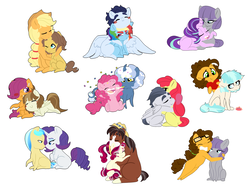 Size: 5200x3954 | Tagged: safe, artist:marukouhai, apple bloom, applejack, caramel, cheese sandwich, cherry jubilee, coco pommel, featherweight, ivory, ivory rook, maud pie, pinkie pie, pokey pierce, rainbow dash, rarity, rumble, scootaloo, soarin', starlight glimmer, trouble shoes, earth pony, pegasus, pony, unicorn, carajack, cheesecoco, cherryshoes, chibi, confetti, cowboy hat, curved horn, engrish, engrish in the description, female, glasses, hat, heart, high res, hug, ivority, lesbian, male, maudwich, older, pokeypie, prone, rumbloom, scootaweight, shipping, simple background, sitting, soarindash, starmaud, story included, straight, wall of tags, white background