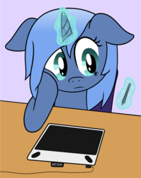 Size: 1191x1500 | Tagged: safe, artist:djdavid98, oc, oc only, oc:paamayim nekudotayim, pony, atg 2017, chair, drawing tablet, floppy ears, holding head, magic, newbie artist training grounds, simple background, solo, stylus, telekinesis, wacom, wacom stylus, wacom tablet