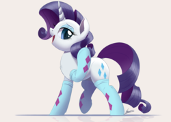 Size: 2500x1787 | Tagged: safe, artist:ncmares, rarity, pony, unicorn, atg 2017, chest fluff, clothes, female, mare, newbie artist training grounds, open mouth, signature, simple background, socks, solo, updated