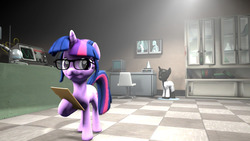 Size: 1920x1080   Tagged: safe, artist:jojobibou, sci-twi, twilight sparkle, pony, unicorn, 3d, clothes, equestria girls ponified, female, glasses, lab coat, mannequin, ponified, solo, source filmmaker, x-ray, x-ray picture