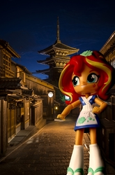 Size: 949x1434   Tagged: safe, artist:whatthehell!?, edit, sunset shimmer, fish, equestria girls, building, doll, equestria girls in real life, equestria girls minis, food, irl, japan, merchandise, night, pagoda, photo, street, sunset sushi, sushi, town, toy