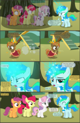 Size: 4551x7001 | Tagged: absurd res, alicorn, apple, apple bloom, apple tree, artist:cyanlightning, buttoncorn, button mash, colt, comic, comic:cyan's adventure, cutie mark crusaders, earth pony, female, filly, food, king button mash, male, oc, oc:cyan lightning, pegasus, pony, rumble, safe, scootaloo, shady daze, .svg available, sweetie belle, tree, unicorn, vector, wet mane