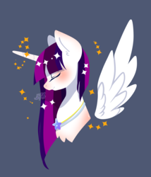 Size: 2265x2648 | Tagged: safe, artist:snow angel, oc, oc only, oc:twily star, alicorn, pony, alicorn oc, eyes closed, female, mare, simple background, smiling, solo