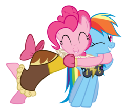 Size: 3500x2991 | Tagged: safe, artist:are-you-jealous, chancellor puddinghead, commander hurricane, pinkie pie, rainbow dash, pony, hearth's warming eve (episode), armor, clothes, high res, hug, simple background, transparent background, vector