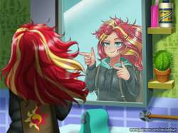 Size: 869x650 | Tagged: safe, artist:racoonsan, sunset shimmer, human, eqg summertime shorts, equestria girls, monday blues, bathroom, bed hair, bottle, cactus, clothes, cute, female, finger gun, finger guns, hoodie, majestic as fuck, mane 'n tail, messy hair, mirror, nailed it, pointing, reflection, scene interpretation, shimmerbetes, smiling, solo, sunset's apartment, tired