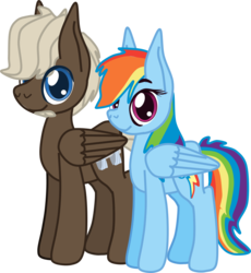 Size: 1087x1182 | Tagged: safe, artist:casanova-mew, dumbbell, rainbow dash, pony, beard, cute, dumbdash, facial hair, female, large ears, male, older, shipping, simple background, straight, transparent background