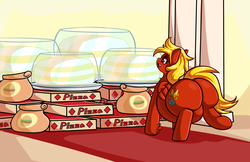 Size: 2974x1932 | Tagged: artist:graphenescloset, belly, big belly, burger, cake, chubby, fat, food, hay burger, oc, oc:chrisphoenix, oc:livid lotus, oc only, phoenix pony, pizza, pony, safe, sequence, solo, story included, the ass was fat, this will end in heartburn, this will end in weight gain
