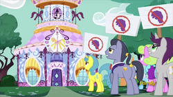 Size: 914x514 | Tagged: alicorn, anti-rarity sign, carousel boutique, daisy, diamond cutter, discovery family logo, fame and misfortune, flower wishes, lemon hearts, linky, pony, rarity, safe, screencap, shoeshine, twilight sparkle, twilight sparkle (alicorn), written script