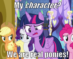 Size: 900x720 | Tagged: safe, edit, edited screencap, screencap, applejack, pinkie pie, rarity, twilight sparkle, alicorn, pony, fame and misfortune, crystal castle, female, image macro, meme, meta, quote, twilight sparkle (alicorn)