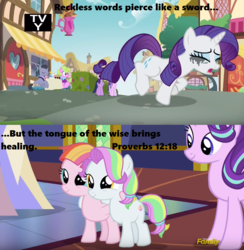 Size: 853x875 | Tagged: alicorn, bible, bible verse, coconut cream, crying, daisy, diamond cutter, discovery family logo, edit, edited screencap, fame and misfortune, flower wishes, makeup, mascara, mascarity, pony, ponyville, rarity, religion, running makeup, safe, screencap, starlight glimmer, toola roola, twilight's castle, twilight sparkle, twilight sparkle (alicorn)