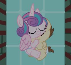 Size: 1793x1635 | Tagged: artist:babyshy, baby, baby pony, babyshy is trying to murder us, crib, cuddling, diaper, diaper sharing, female, male, pony, pound cake, poundflurry, princess flurry heart, safe, shipping, sleeping, straight