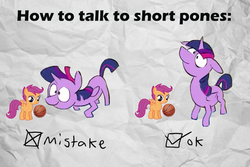 Size: 1024x683 | Tagged: alicorn, artist:deadlycomics, basketball, edit, how to talk to short people, meme, mistake, ponies the anthology vi, pony, safe, scootaloo, twilight sparkle, twilight sparkle (alicorn)