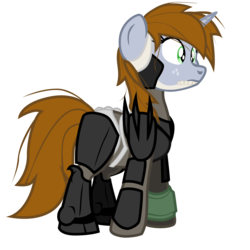 Size: 2400x2400 | Tagged: artist:aaronmk, crossover, fallout equestria, female, mare, metal gear, metal gear rising, oc, oc:littlepip, oc only, pony, raiden, safe, simple background, solo, transparent background, unicorn, vector