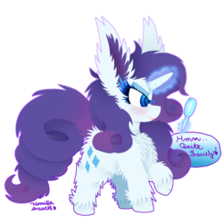 Size: 1024x1024 | Tagged: artist:vanillaswirl6, big ears, cheek fluff, chest fluff, colored pupils, cute, dialogue, ear fluff, female, fluffy, impossibly large ears, magic, mare, mirror, open mouth, pony, raised hoof, rarara, rarity, safe, shoulder fluff, simple background, solo, telekinesis, transparent background, unicorn, unshorn fetlocks