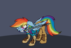 Size: 1544x1050   Tagged: safe, artist:zogzor, rainbow dash, pegasus, pony, atg 2017, cut, ear piercing, earring, female, floppy ears, jewelry, link, mare, master sword, mouth hold, newbie artist training grounds, one eye closed, piercing, solo, sword, the legend of zelda, the legend of zelda: breath of the wild, weapon